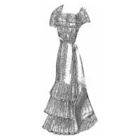1901 Tulle Evening Gown with Comet Ribbons Pattern