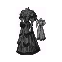 1894 Dress Trimmed with Mongolian Lamb Fur Pattern