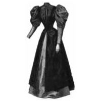 1894 Combination Plain & Dotted Wool Gown