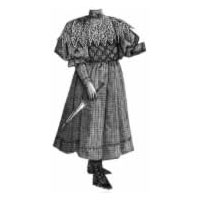 1894 Checked Wool Frock for Girl 6-8 Yrs