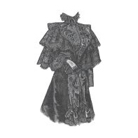 1894 Black Moir� & Lace Cape