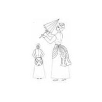 1870 - 1890 Apron Overskirt with Waterfall Back Pattern