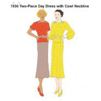 1936 2-piece Day Dress with Cowl-neck Pattern