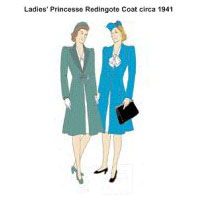 1941 Lady's Redingote Coat Pattern