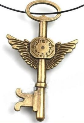 "Antique Bronze Finish Steampunk Wing Key & Clock Retro Embellishment Pendant - 3"" long X 1.75"" wide."