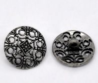 Antique Silver Finish Filigree Metal Button with Shank Back