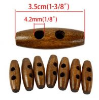 Warm Brown Wooden Toggle Two-Hole Buttons  - Pack of 5 Buttons