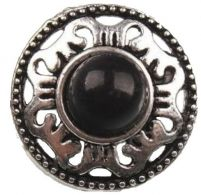 "Antique Siilver Finish Button with Black Jewel Center (19mm) (3/4"")"