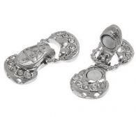 Petite Silver Finish Clear Rhinestone Magnetic Metal Clasp