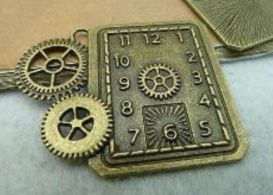 Antique Bronze Finish Steampunk Large Heavy Gear Watch Clock Mechanical Movement Embellishment