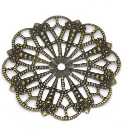 Vintage Victorian Styled Steampunk Filigree Round Scallop Embellishment in Antique Bronze/Brass Finish