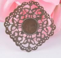 Vintage Victorian Styled Steampunk Filigree Rounded Corner Square Mount in Antique Bronze/Brass Finish