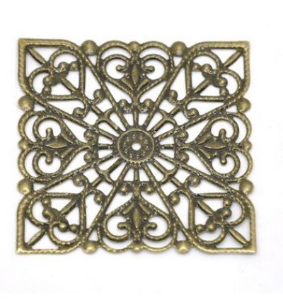 Vintage Victorian Styled Steampunk Filigree Square Wrap in Antique Bronze/Brass Finish