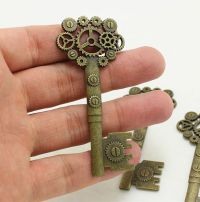 Gear Key Steampunk Embellishment Antique Bronze/Brass Finish
