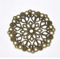 Filigree Steampunk Round Embellishment in Antique Bronze/Brass Finish