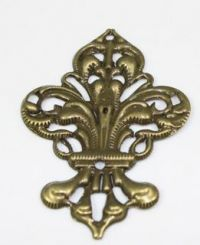 Filigree Steampunk Fleur de Lis Embellishment in Antique Bronze/Brass Finish
