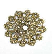 Filigree Steampunk Elegant Round Embellishment in Antique Bronze/Brass Finish