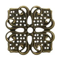 Vintage Victorian Styled Steampunk Filigree Floral Square Jewelry Wrap or  Embellishment in Antique Bronze/Brass Finish
