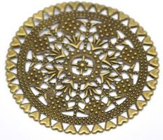 Vintage Victorian Styled Steampunk Filigree Floral Round Jewelry Wrap or  Embellishment in Antique Bronze/Brass Finish