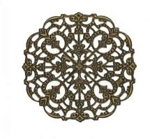 Vintage Victorian Styled Steampunk Filigree Ornate Design Round Embellishment in Antique Bronze/Brass Finish