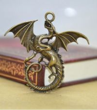 Ascending Dragon Pendant in Antique Bronze/Brass Finish