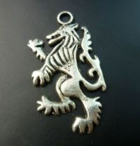 Rampant Lion or Wolf Charm in Antique Silver Finish