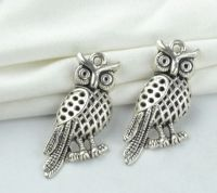 Perched Owl Charm Pendant in Tibetan Silver Plate