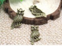 Perched Owl Charm Pendant in Antique Bronze/Brass Finish