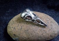 Crow Skull Plague Doctor Pendant in Silver Finish