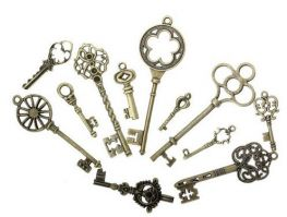 Vintage Victorian Styled Steampunk Key Assortment Jewelry or Embellishments in Antique Bronze/Brass Finish