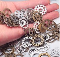 Pack of 100 Metal Gears for Steampunk Embellishment or Jewelry - in Silver and Antique Brass - Mixed Gear Sizes