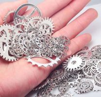 Pack of 100 Metal Gears for Steampunk Embellishment or Jewelry in Silver Finish - Mixed Gear Sizes