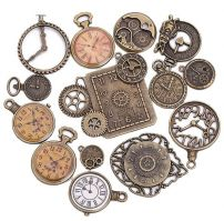 Pack of 15 Vintage Victorian Styled Steampunk Decorative Clock Jewelry Charms and Embellishment in Antique Bronze/Brass Finish