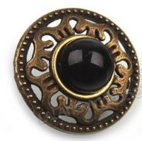 "Antique Bronze Finish Button with Black Jewel Center (19mm) (3/4"")"