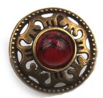 "Antique Bronze Finish Button with Red Jewel Center (19mm) (3/4"")"