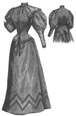 1894 Serge Gown with Mohair Braid Pattern by Ageless Patterns