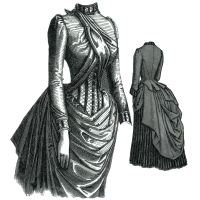 1885 Cashmier and Striped Velvet Dress Pattern by Ageless Patterns