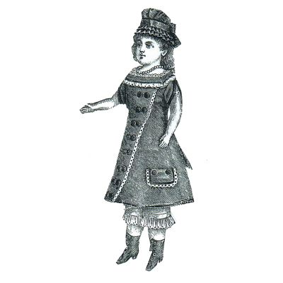 "1877 Doll's Gray Princesse Dress -  17-1/2"" without head Pattern by Ageless Patterns"
