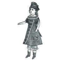 "1877 Doll's Gray Princesse Dress -  17-½"" without head Pattern by Ageless Patterns"
