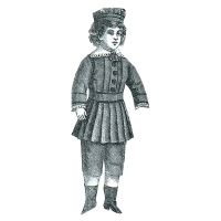 "1877 Boys Gray Poplin Suit for Doll -  16-1/2"" without head Pattern by Ageless Patterns"