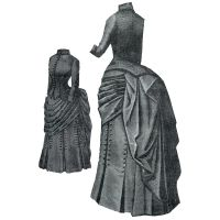 "1887 Dark Blue Ladies' Cloth Dress - 41"" Bust - 27"" Waist Pattern by Ageless Patterns"