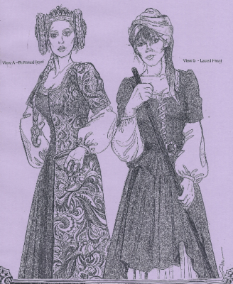 14th and 15th Century Easy Medieval Front-Opening Buttoned or Laced Kirtle Gown Sewing Pattern by Alter Years