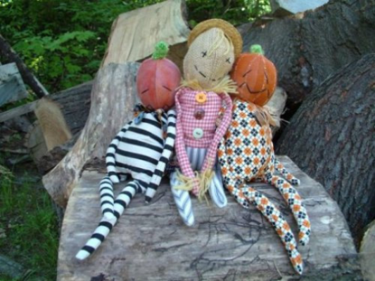 "Pumpkin-headed Jack and Scarecrow Joe 14"" Long Craft Pattern by ""Jennifer Carson, The Dragon Charmer"""