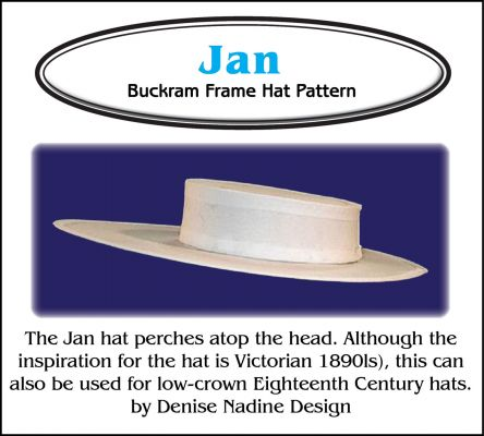 Jan Hat Pattern - Low Crown 18th Century or Victorian Sewing Pattern by Denise Nadine Designs