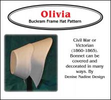 Olivia Bonnet 1860-1865 Civil War to Early Victorian Era or Steampunk Inspired Sewing Pattern by Denise Nadine Designs