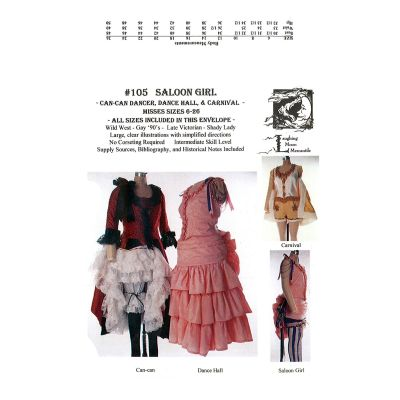 1800s Saloon Girl or Can-Can Dancer Pattern by Laughing Moon Mercantile