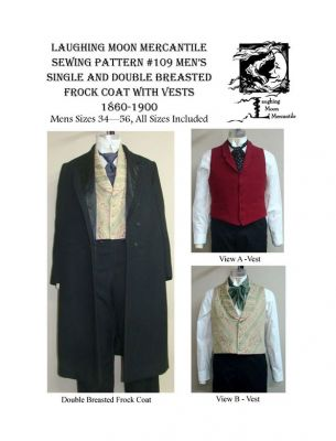 1850 - 1915 Men's Single and Double Breasted Frock Coats and Vest Pattern by Laughing Moon Mercantile