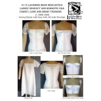1805-1840 Ladies Regency and Romantic Era Corded Corset with Theatrical Version Corset and Chemise Pattern By Laughing Moon Mercantile