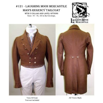 1810 - 1830 Men's Regency Tailcoat with Five Collar and Lapel Options Pattern by Laughing Moon Mercantile