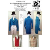 1806-1830s Men's Regency Tailcoat, Slip Vest Combo Pattern by Laughing Moon Mercantile